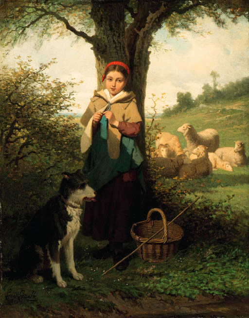The Shepherdess, Louis Simon Cabaillot Lassalle (1810 – 1870, French)