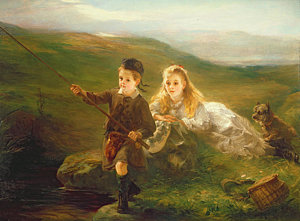 Two children fishing in Scotland, Otto Leyde