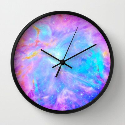 pink and lavender wall clock