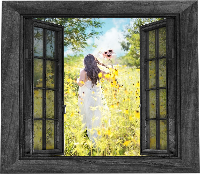 open window to a field of yellow flowers and a girl running