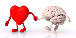 a characterization of a red loving heart holding the hand of the brain